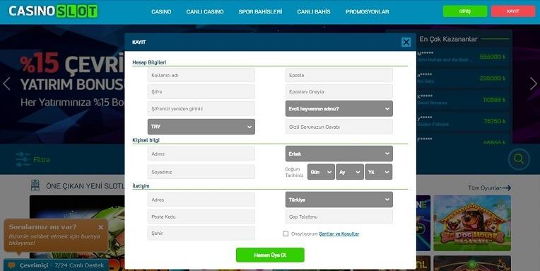 Casinoslot Kayıt Olma Sayfası