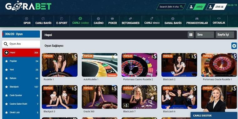 Gorabet Casino Oyun Ekranı