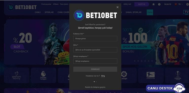Bet10bet Kayıt Sayfası