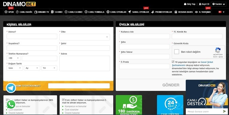 Dinamobet Kayıt Olma Ekranı