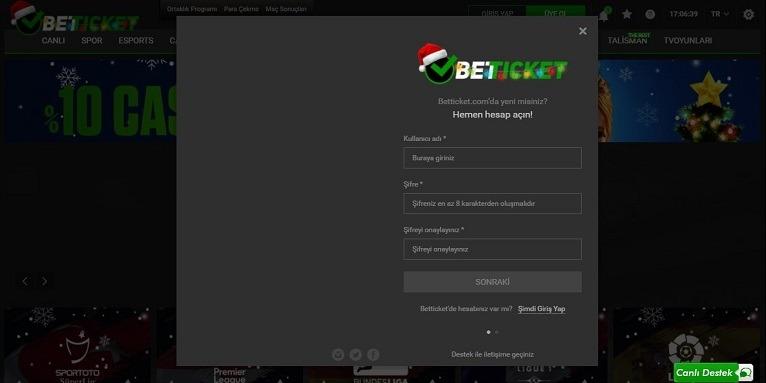 Betticket Kayıt Olma Ekranı