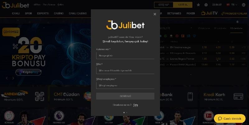 Julibet kayıt olma ekranı