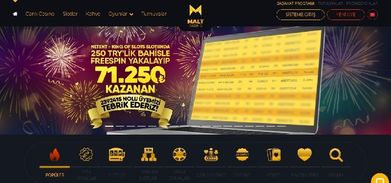 Maltcasino Anasayfa Ekranı