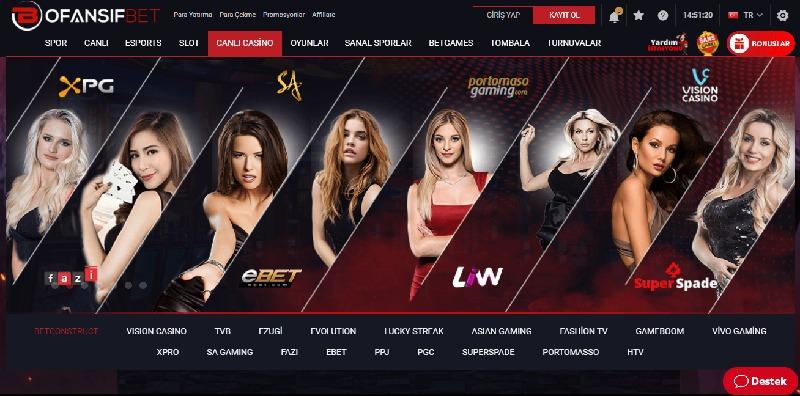 Ofansifbet Canlı Casino Ekranı