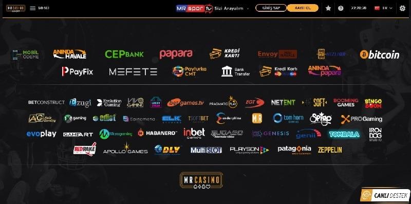 MrCasino Ödeme Yöntemleri Sayfası