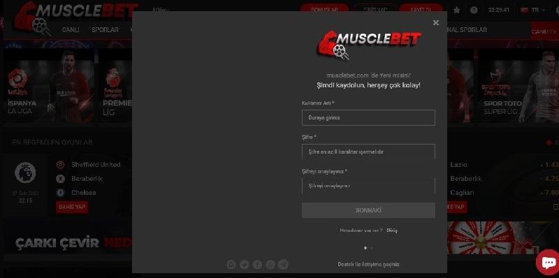 Musclebet Kayıt Olma
