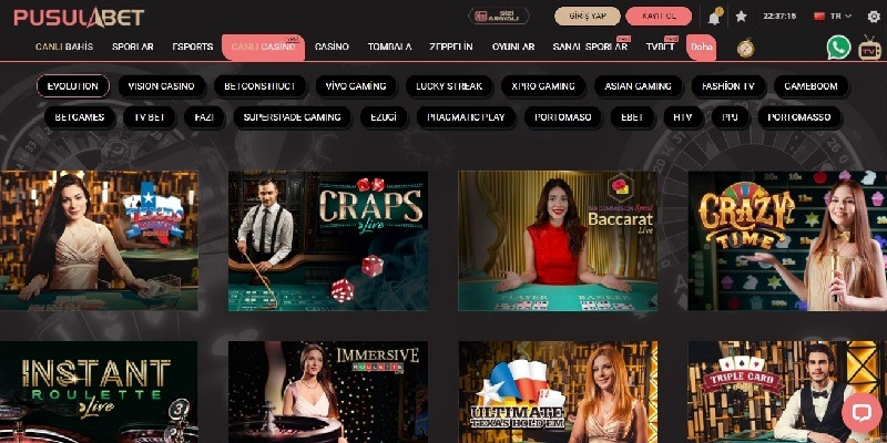 Pusulabet Canlı Casino Oyunları